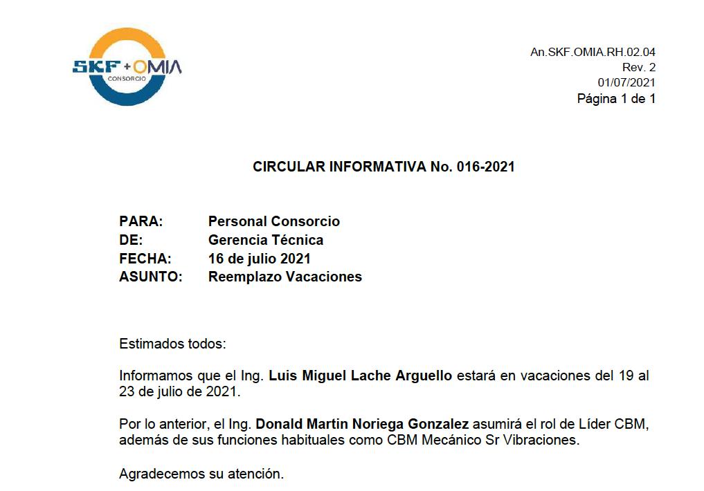 Circular Informativa 016